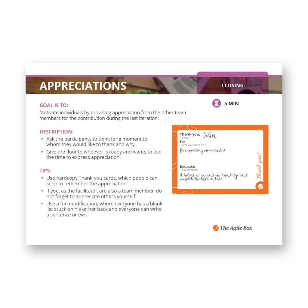 Retrospectiv Card: Appreciations