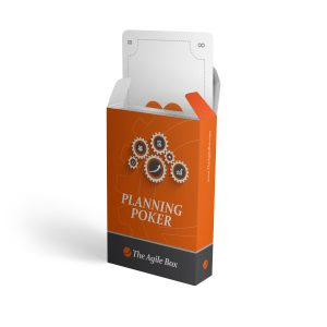 An open box of Planning Poker cards